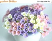 Miniature Polymer Clay Flowers Supplies for Dollhouse, set of 30 stems, three tones, White, Pink and Violet