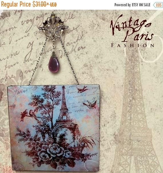 Paris Toile Glass Wall Decor - Vintage Paris Fashion - Glass Wall Pendant - French Blue/Chocolate Toile