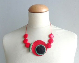 Red gems circle necklace, red black leather necklace, red necklace