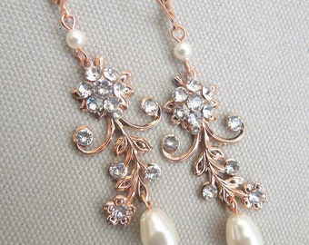 Rose gold Bridal Earrings Ivory swarovski pearls and Rhinestone Earrings Chandeliers Earrings wedding pearl and crystal earrings  GERBERA