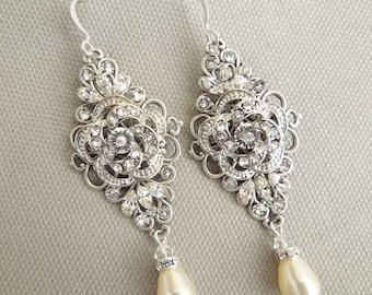 pearl Bridal Earrings bridal earrings Rhinestone Wedding Earrings Chandeliers Earrings swarovski pearl crystal teardrop earrings ROSELANI