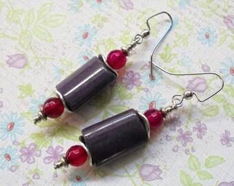 Plum and Fuschia Earrings (3383)
