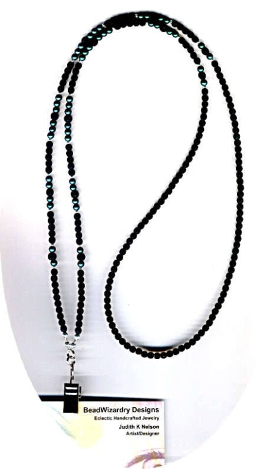 Man's Classic Matte Jet Black with Smooth Czech Glass Beads Beaded ID Badge Lanyard or Eyeglass Chain