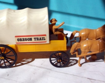 Vintage Processed Plastics Co toy Oregon Trail Covered Conestoga wagon with 2 horses to pull it