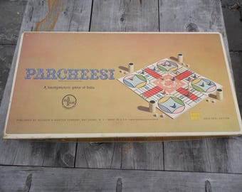 Parcheesi vintage 1959 board game, COMPLETE, game pieces unwrapped in package Parcheesi a backgammon game of India for your family game nite