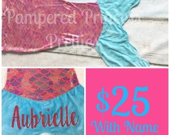 Mermaid Blanket, Monogrammed with Name, Mermaid Tail, Hot Pink Rainbow with Blue Fin