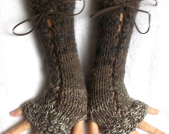 Fingerless Gloves Warm Corset Arm Warmers in Greyish Brown Taupe Beige Variegated Victorian Style