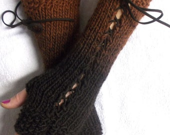 Long Fingerless Gloves Knit  Copper Dark Brown Coffee  Shades Corset  Arm Warmers Variegated for Women Victorian Style