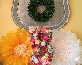 Floral letter or initial. Wedding decor or nursery wall decor,  flower Letter