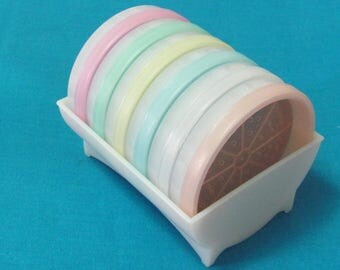 Set Of Six Vintage Tupperware Wagon Wheel Coasters With Caddy