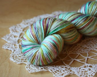 Hand Dyed Sport Weight Yarn / Superwash Merino Wool / Aqua Copper Plum Rose Tropical Tropique Sportweight