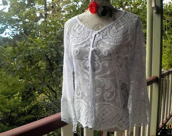 palest blue vintage lace blouse - boho summer - osfm