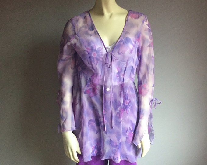 90s sheer Fredericks of Hollywood long mini dress tunic pastel lavender lilac purple floral print bell flutter sleeve bow tie 1990s club M L