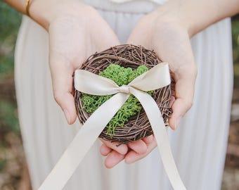 rustic wedding ring bearer pillow - rustic wedding birds nest ring bearer pillow, birds nest ring pillow, woodland wedding, forest wedding