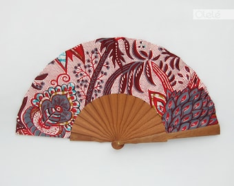 African Baroque print modern ethnic accessory by Olele - Red - Wooden hand held fan with case - hand fan eventail abanico faecher