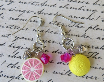 Grapefruit Love Dangling Clay and Crystal Beaded Earrings