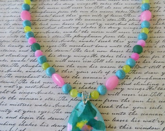 Multi Colored Magnesite Agate And Jade Beaded Necklace With Marquise Pendant
