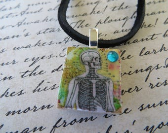 Vintage Look Skeleton Print Scrabble Tile Pendant With Leather Cord Necklace