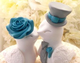 Wedding Cake Topper, Love Birds, White, Teal and Grey, Bride and Groom Keepsake