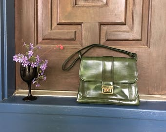 Diamicci Vintage Purse Carry-on Handbag Green Leather Retro Bag