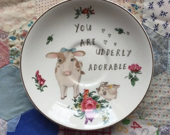 Udderly Adorable Cows Illustrated Vintage Plate