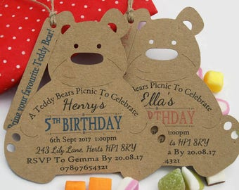 Teddy bear picnic Birthday Invitation tags Personalised x10