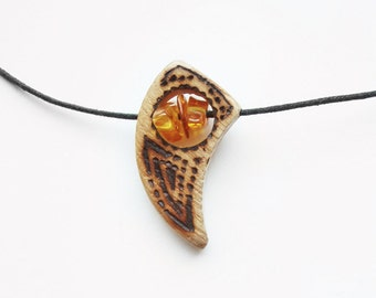 OOAK  Burned wood pendant with Baltic amber on cotton strings - pyrography
