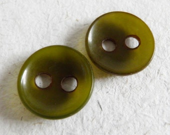 Green Bakelite Buttons One Pair Large Hole