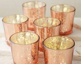 60 Rose Gold Votive Holders Mercury Glass Wedding Decor Rose Gold Wedding Decor Blush Pink Tea light Candle Holder Event Party Decor