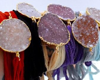 SILK WRAPS /// Gemstone Druzy Bracelet, Choker, Arm Band, Necklace or Headband /// 24kt Gold Electroformed