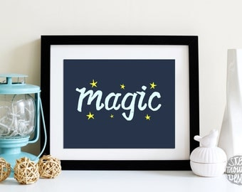 Art Above the Crib BLUE and Yellow Magic Stars Typographic Print NURSERY Wall Art INSTANT Download Art Print 8x10 and 5x7