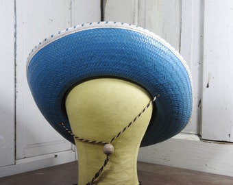 Vintage Cowboy Hat Straw Blue Child's Adorable