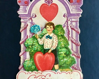 Vintage Valentine Standing Boy Adorable