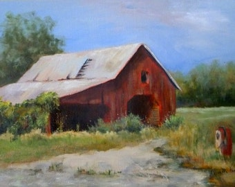 "Red Country Barn 9""x12"" oil painting by Alexandra Kopp"