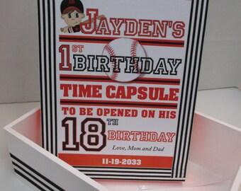 Baseball Theme 1st Birthday Time Capusule Keepsake box