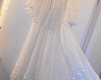VTG COTTON GAUZE  White Angel Wing midi maxi dress gown hippie bobo semi sheer ribbons