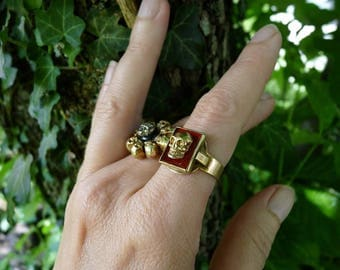 Antique Victorian Memento Mori Skull Ring, An Alchemical Talisman for the Passionate, offered by RusticGypsyCreations