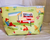50s Travel Trailer Camping Zipper Bag/Pouch - Large