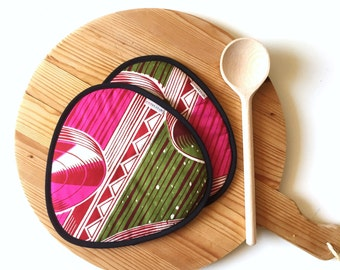 african print kitchen potholders - pink green white wax vlisco fabric potholders - ethnic african tribal colorful kitchen potholders