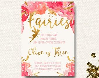 Fairy Birthday Invitation | Fairy Dust | Floral Garden Gold Girls | Roses Flower Invite | Pink Gold