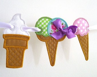 "Ice Cream Banner In The Hoop Project Machine Embroidery Design Applique Patterns in 5 sizes 4"", 5"", 6"", 7"" and 8"""