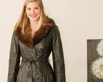 vintage 70s fur trimmed leather trench coat spy