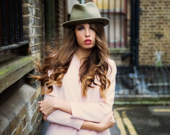 The Viv, Pale Olive: classic woman's hat for the bold beauty