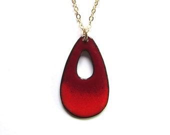 Red enamel necklace Long teardrop pendant Gold chain Enameled copper minimalist jewelry set Elegant dangles