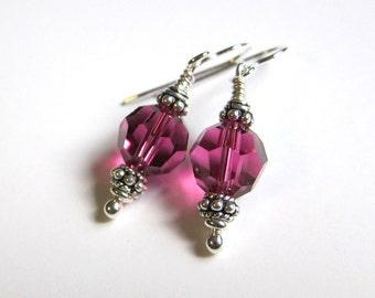 Fuchsia swarovski crystal earrings Bridesmaid earrings Dainty pink sterling silver dangles Small bead drops Pink wedding jewelry