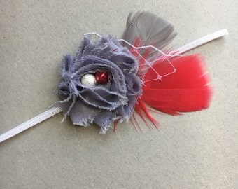 Valentine's Day, baby headband, Red, gray, white, baby, Feather, infant, headband, little girl, Fascinator, Hair, PIece, flower, Accessory,