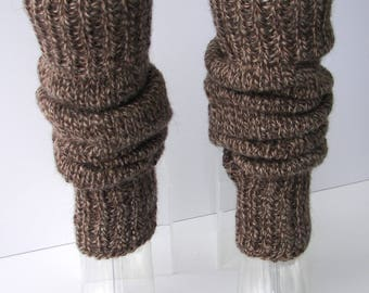HAND Knit Extra Thick SEAMLESS Long Leg warmers in Brown Caramel/ wool dance leg warmers