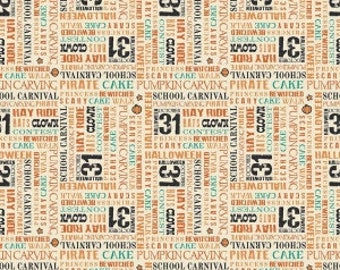Treat Words in cream from the Trick or Treat fabric collection by Carta Bella for Penny Rose / Riley Blake fabrics - C5993- cream
