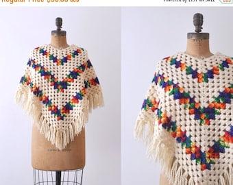 25% OFF Vintage rainbow poncho. 1970's boho shawl. crochet knit cream. 70 square poncho.