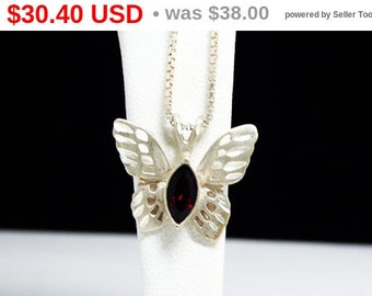 Sterling Silver Butterfly Pendant - Sterling Silver Chain Necklace - Garnet Red Marquis Rhinestone - Signed 925 Vintage - Italian Box Chain